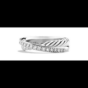 David Yurman 5mm Diamond Crossover Ring - MINT